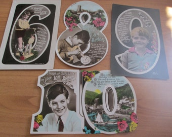 Four 1930s ? Vintage Boy's Birthday Postcards 6, 8, 9 and 10