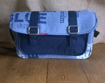Hand Made blue denim satchel, messenger bag, over the shoulder bag.