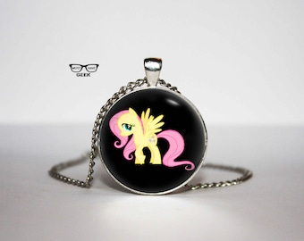 Pony Necklace, Pink hair pony pendant, Art Gifts, for Her, for him