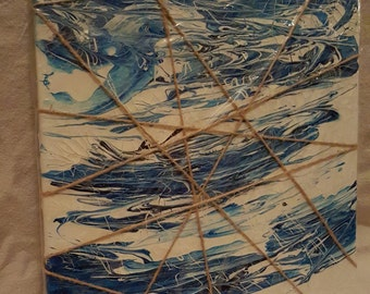Blue Splatter with String