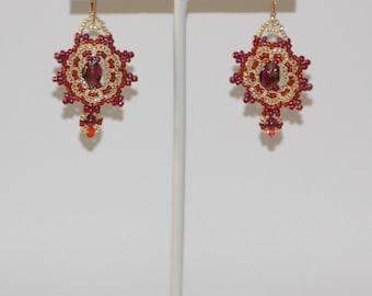 Elegant Garnet and Gold Earrings