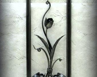 Metal Art, Exclusive, panel, sun, forged paintings, interior design, forging, art,tulip, leaves, oak acorns,