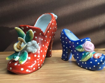 Shoes, TWO, polka dot, 1960's, miniature, porcelain, high heels, from Japan, embossed, collectible, excellent condition, SALE