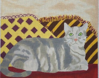Henry the cat handpainted needlepoint canvas