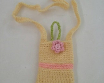 Free Shipping!! Crochet Cell Phone Case, yellow cell phone case, Cell Phone Cozy, Crochet Flower Phone Cozy