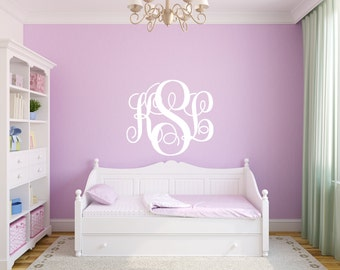 Vine Monogram Wall Decal Room Wall Decor Vinyl Decal Sticker - Personalized Vinyl Decal for bedroom, living room, and home decor