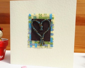 Handmade Greeting Card - Blank Romantic Card - Multi coloured threads plaited together in the shape of a heart - Suitable for all Occasions