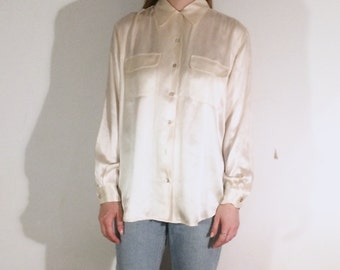 Vintage 90's | Cream silk button down shirt | Size medium