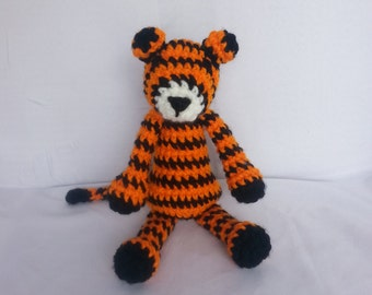 Tiger Baby Rattle/ Crochet Amigurumi Tiger/ Stuffed Animal Tiger/ Crochet Animal/ Orange and Black Tiger/ Plush Tiger/ Baby Shower Gift