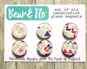 Geometric Pattern Magnets ~ Set of Six ~Glass Magnets ~ Fridge Magnets ~ Refrigerator Magnets ~ Decorative Magnets ~ Gifts ~ Office ~