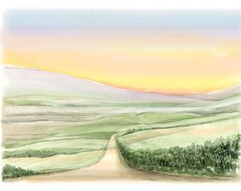 Beautiful Giclée print of an original watercolor. Soft horizon. Spiritual theme. 8 x 10. Open edition.