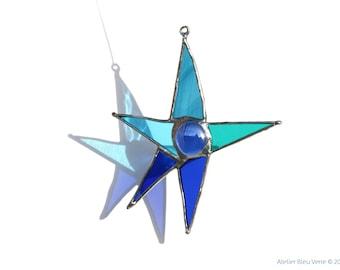 Blue Stained Glass Star Suncatcher, Handmade Glass art, Hanging Window Ornament, Five Point Star