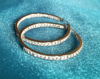 Stainless Steel inside/outside crystal hoop earrings