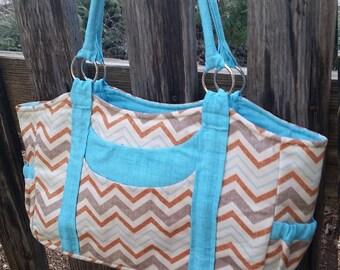 Chevron blue, burnt orange, and brown purse, diaper bag, or tote