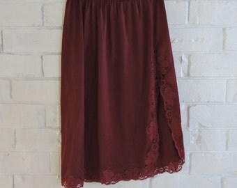 Vintage Maroon Slip with Side Split Lace Detail