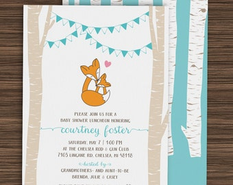 Mom & Baby Fox Woodland Baby Shower Invitation (PDF and JPG Files)