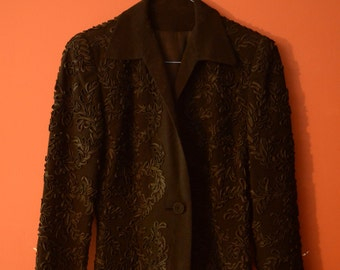 1940s Black Wool Soutache Femme Fatale Blazer Jacket - Small