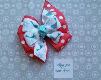 Polka Dot Winter Bird Pinwheel Bow