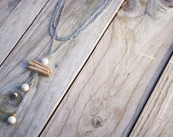 Necklace long/necklace coconut/necklace with pendant/Jasper/Pearl of fossil/spirit wood/wooden nature fact-natural-zen hand/gifts for her