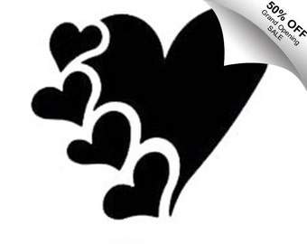50% Off** Valentine's Day Multiheart Vinyl Decal Limited Time Offer Use Code NEWSHOP16
