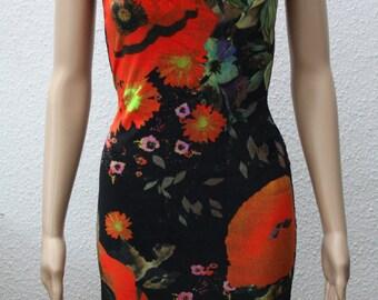 sleeveless velvet dress with floral poppy print size 34