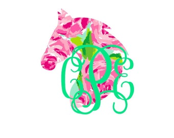 Lilly Horse Head Monogram Decal - Rider Decal - Horse Decal - Yeti Decal - Custom Decal - Monogram Car Decal  - Horse Lover - Lilly