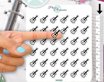 Clear Guitar Stickers Music Stickers Music Notes Stickers Planner Stickers Erin Condren Functional Stickers Decorative Stickers NR888