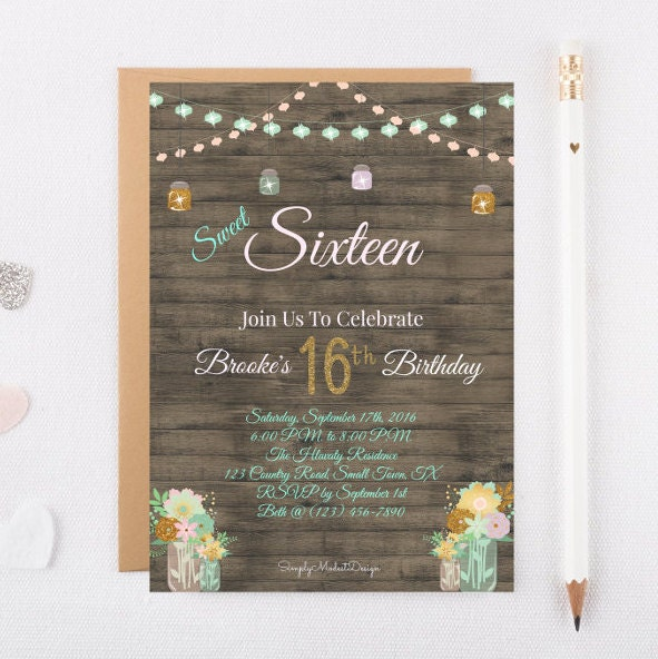 Rustic sweet 16 Birthday Invitation digital by ...