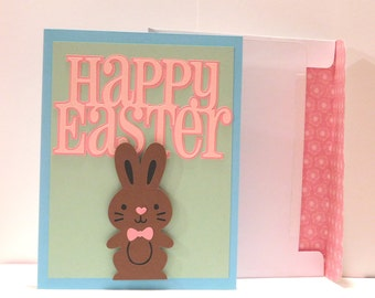 Easter card, Easter bunny, chocolate bunny greeting card, blank inside, 3D