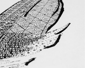 FEATHER (original black ink illustration with pattern -bird- print)
