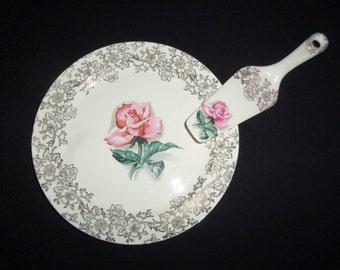 Roses Cake Plate and Server - Hampton china