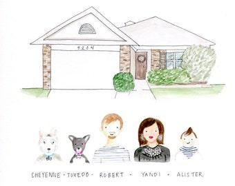 Custom Mini Family and House Portrait