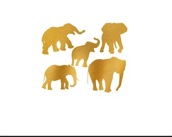 elephants gold foil clip art svg dxf file instant download silhouette cameo cricut digital scrapbooking commercial use