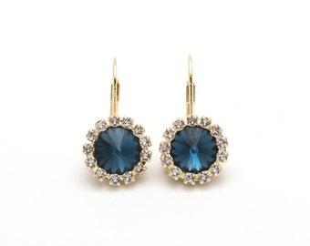 Swarovski Earrings, Montana, Gold or Silver