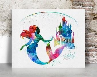 Disney print, Ariel print, The little mermaid print, Ariel castle, disney, poster, Wall art, Kids decor, home decor, FamouStars