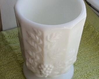Milk Glass Tumbler/Vase - Grapevine and Grapes - Vintage