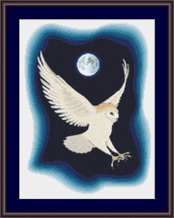 Barn Owl in the Moonlight Cross Stitch Pattern, Instant Download Counted Cross Stitch Chart, PDF Digital Download