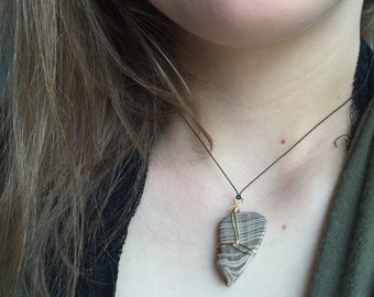 Tan Striped Rock Pendant with Wire