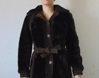 Vintage Dark Brown Corduroy Coat from 70s