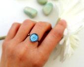 Healing Ring MOON MANDALA Ring Blue Mandala Jewelry Healing Jewelry Moon Ring Celestial Ring Mandala Art Print Gypsy Ring Boho Ring