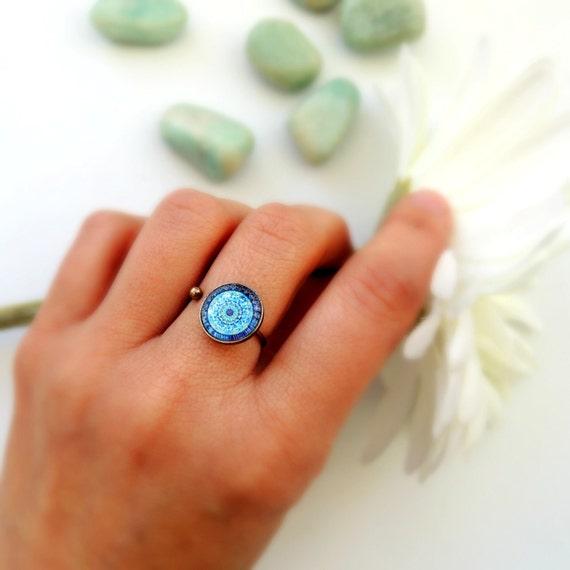Healing Ring MOON MANDALA Ring Blue Mandala Jewelry Healing Jewelry Statemente Ring Ajustable Ring Mandala Art Print Brass Boho Ring