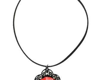 Leather poppy flower filigree pendant