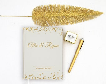 Wedding Guest Book Personalized Gold Guest Books Custom Guestbook Modern Wedding Gold Foil faux Script Glitter Wedding - Ivory