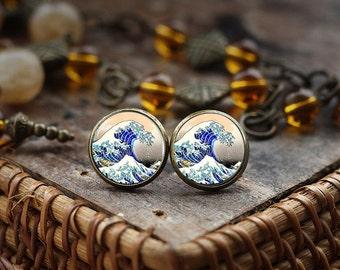 The Great Wave of Kanagawa stud earrings, Japanese Art earrings, Japan The Great Wave, Hokusai, Japanese Wave earrings, Classic Art earrings