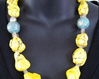 Handmade Necklace Set, Hand Strung Necklace Set, Statement Necklace Set, Bold yellow Necklace Set