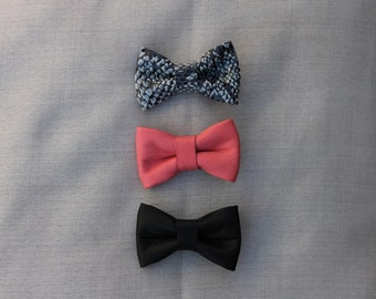 Bow Ties, baby bow ties, leather bow, clip on bow tie, leather bow tie, leather, small bow, baby bow