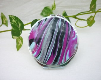 pocket mirror, makeup mirror, green and black , polymer clay, french handmade