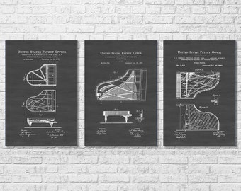 Steinway Piano Patent Collection of 3 - Patent Print, Wall Decor, Music Poster, Steinway Patent, Piano Patent, Grand Piano Patent