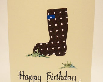 Welly birthday calligraphy card,boot card,male card