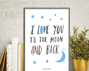 Illustration children moon and stars, Nursery decor, Children poster, Bedroom wall decor, Nursery quote, Illustration print, Art print